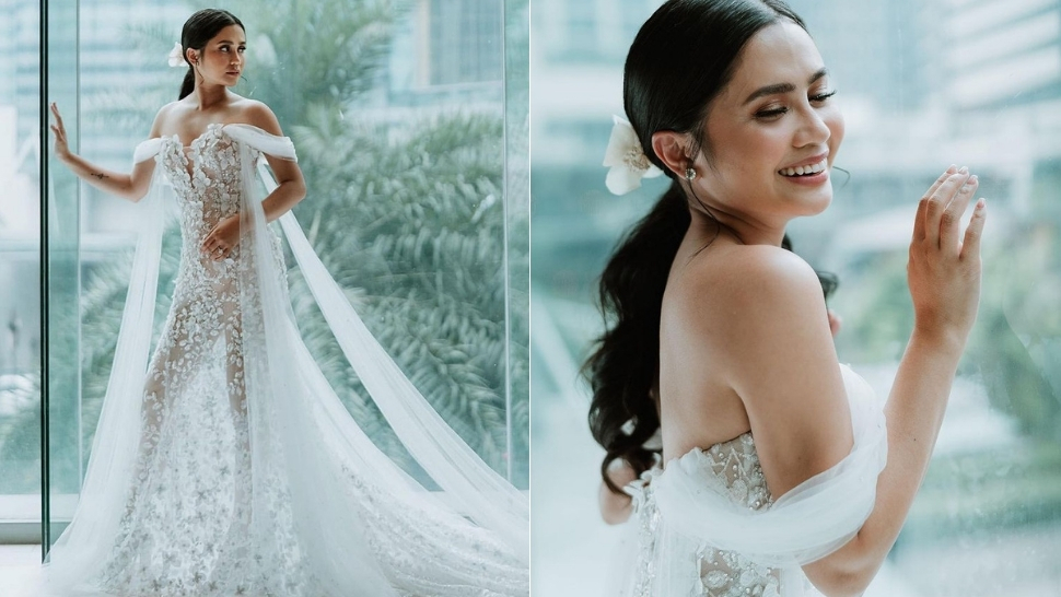 Here's A Closer Look At Anna Cay's Stunning, Sheer Wedding Gown