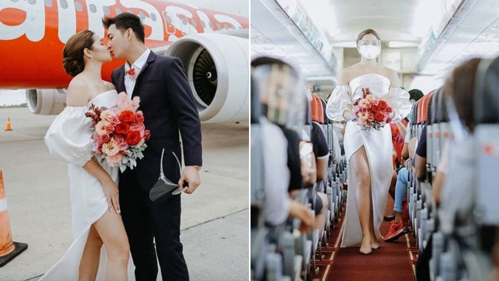 This Bride Got Married Onboard A Flight And Wore The Prettiest Off-the-shoulder Wedding Gown