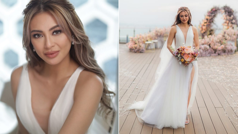 Sam Pinto Just Got Married in a Dreamy High-Slit Tulle Wedding Gown