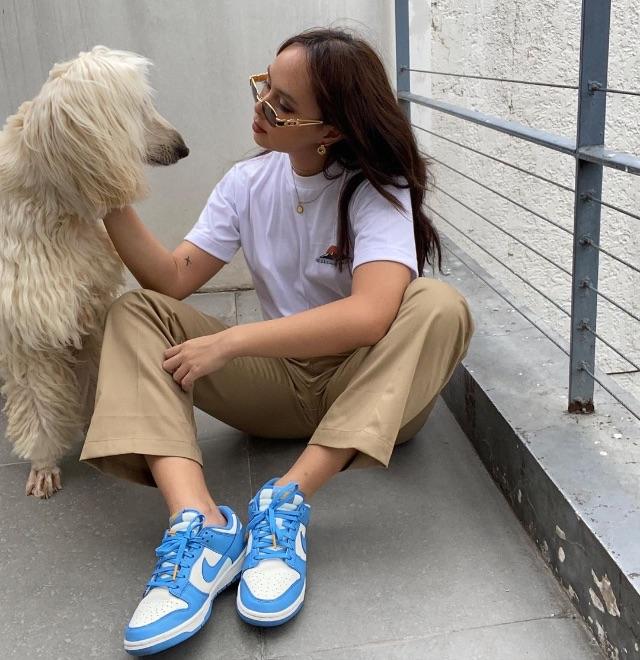 celebrity colored shoe outfit Kaila Estrada
