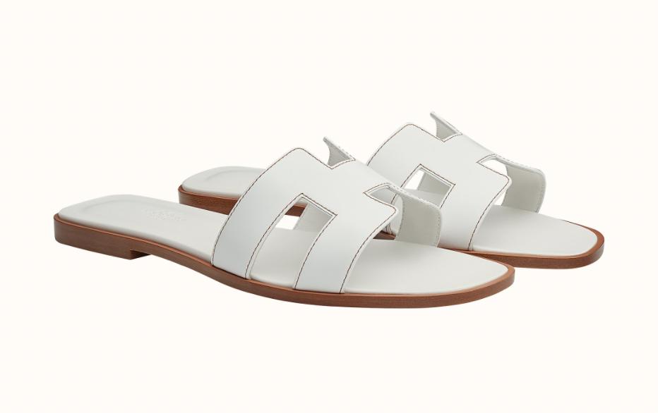 hermes oran sandals white