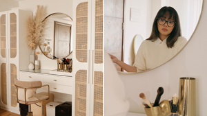 5 Details We Love About Makeup Artist Anthea Bueno's Tropical Chic Vanity Area