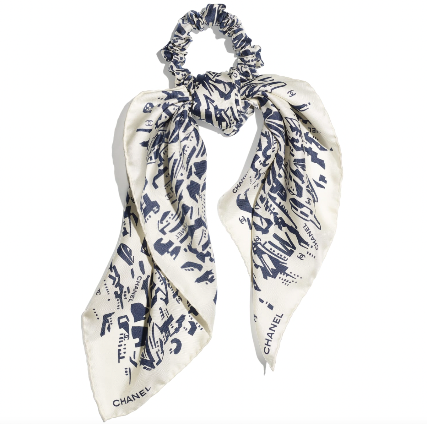 heart evangelista chanel silk twill scarf hair accessory price