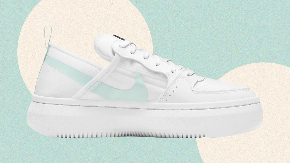 We're Obsessed With These Chunky White Sneakers With Mint Accents