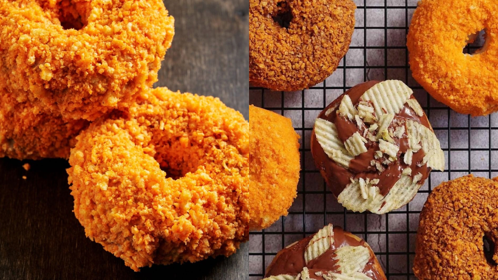 This White Chocolate Doughnut Is Coated With Cheetos And We're Intrigued
