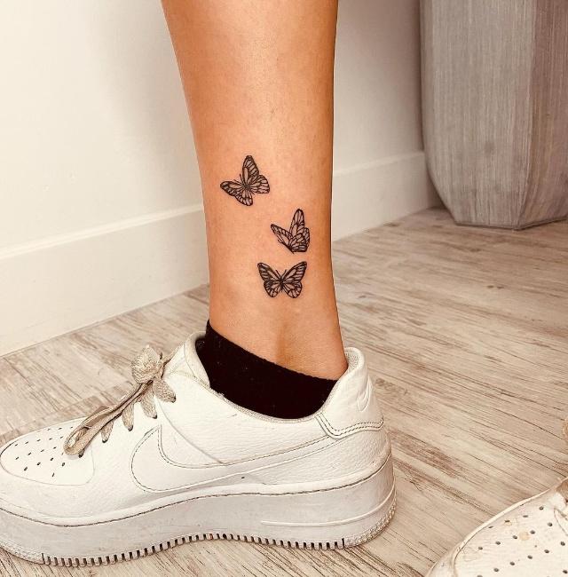 ankle tattoo butterflies