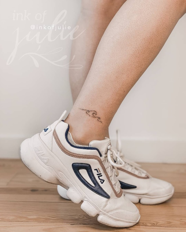 ankle tattoo waves