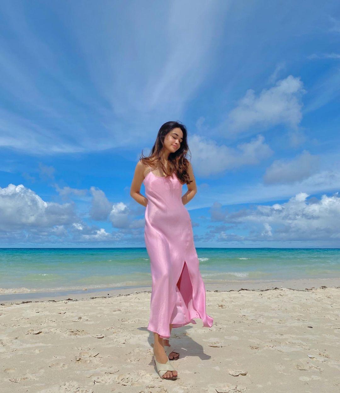 angelina cruz colorful beach ootds