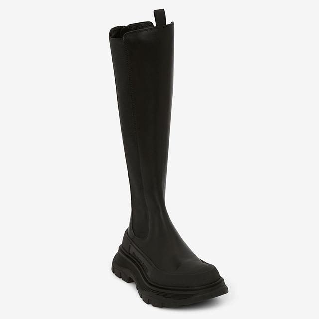 alexander mcqueen knee high tread boots