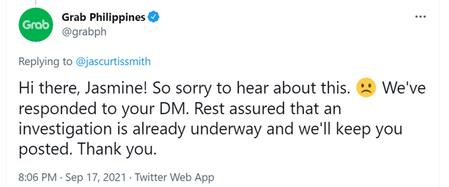 jasmine curtis-smith calls out grab driver