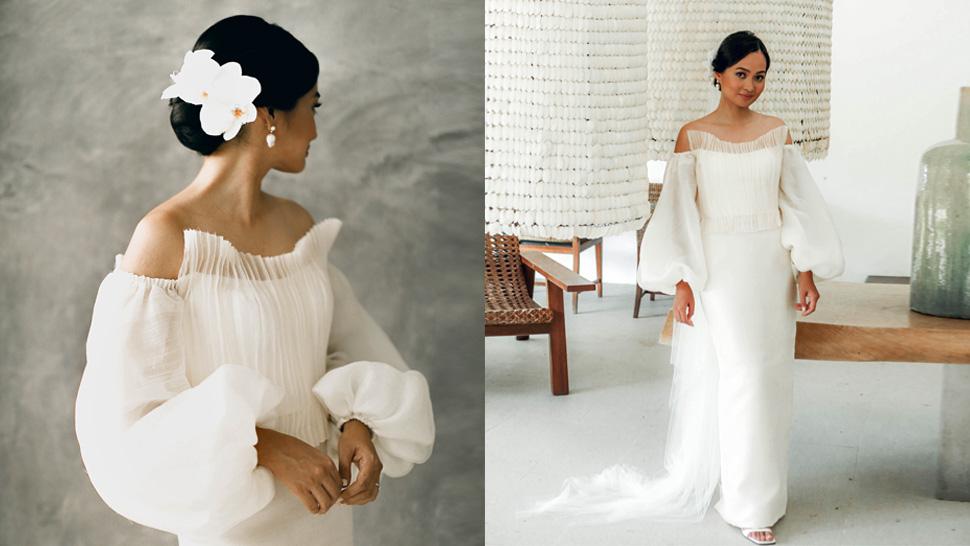 This Filipina Architect Wore The Most Stunning Modern Minimalist Piña Wedding Dress