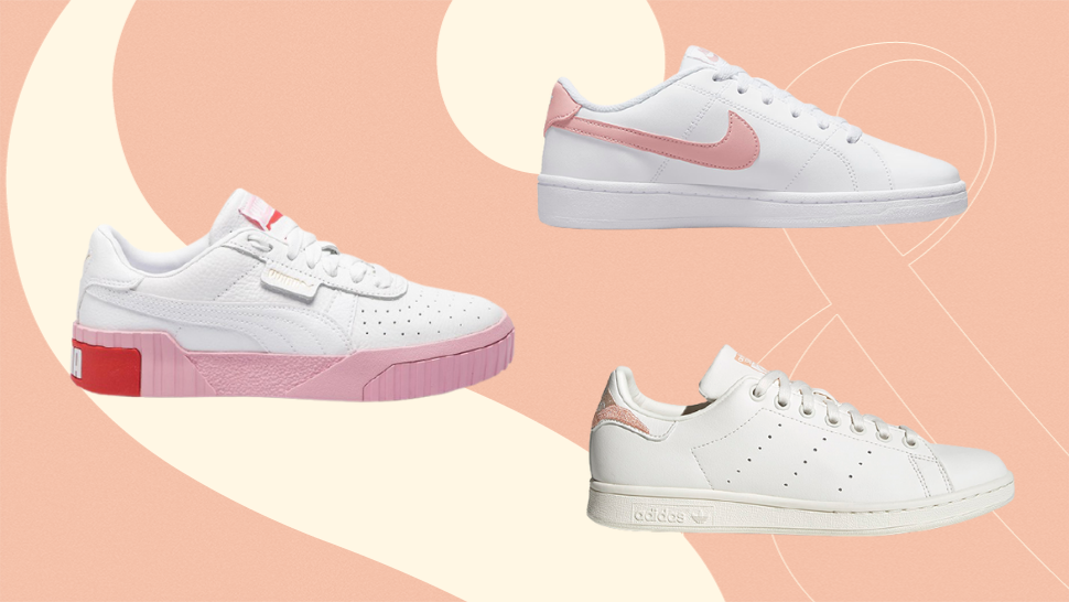 10 Minimalist White Sneakers With Pretty Pink Accents to Add to Your Collection