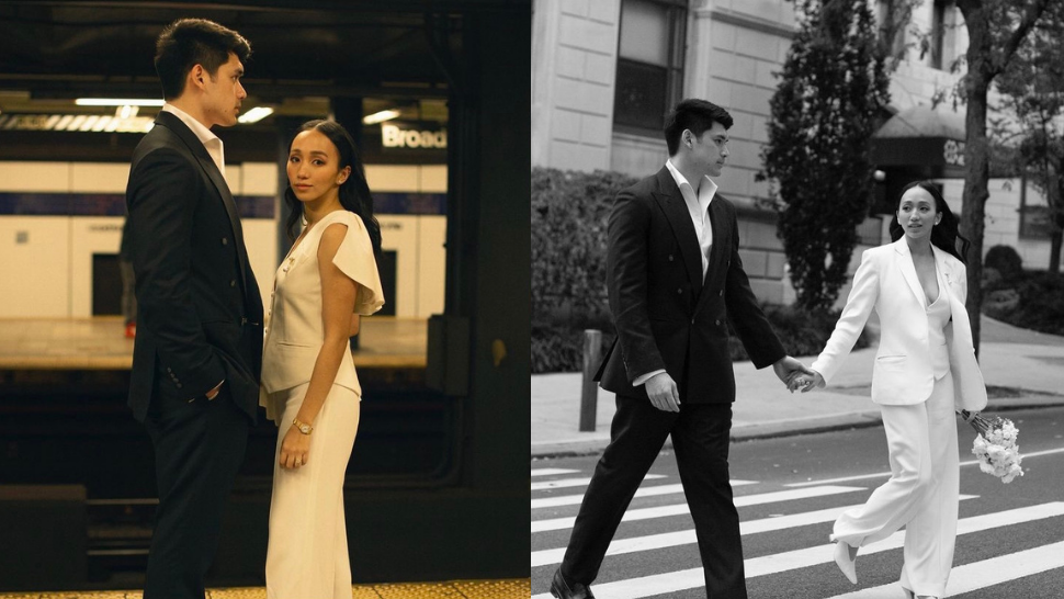 This Bride Wore A Sleek, Minimalist Pantsuit For Her Outdoor Wedding In New York