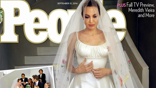 Angelina Jolie's Versace Wedding Dress Features Her Kids' Drawings