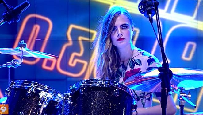 Watch: Cara Delevingne Plays The Drums In Heels