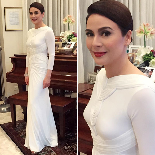 Dawn Zulueta Slayed It On The Red Carpet In Her Stark White Gown By Cary Santiago Paired With Emerald And Diamond Halo Drop Earrings