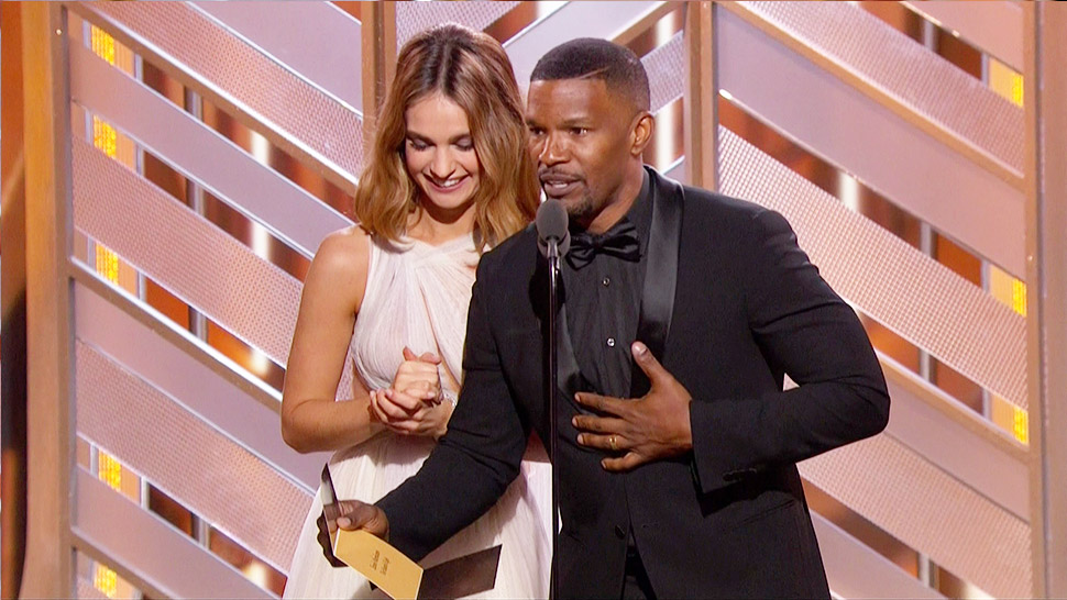 Watch: Jamie Foxx Pulls A Steve Harvey At The Golden Globes