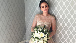 All The Deets On Georgina Wilson's Monique Lhuillier Wedding Gown