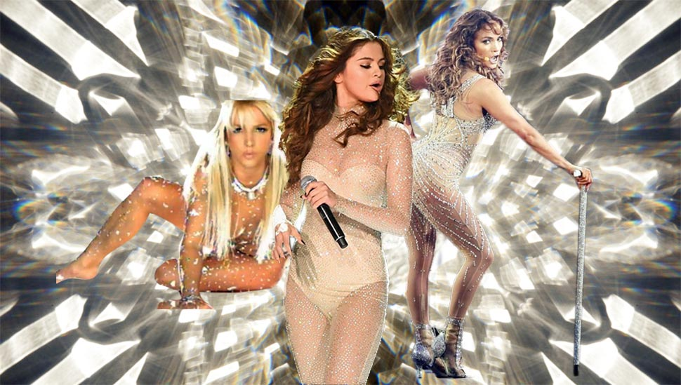 Battle of the Sparkly Bodysuit: Britney vs. Selena vs. J.Lo