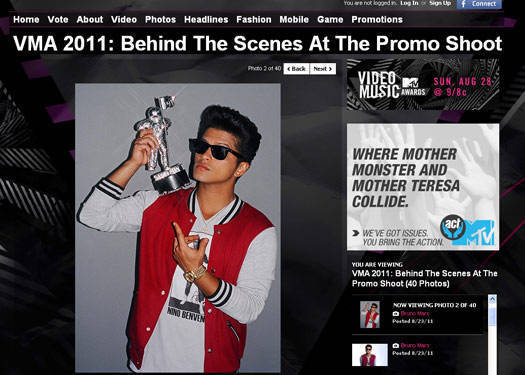 Bruno Mars In Bench For The Vmas
