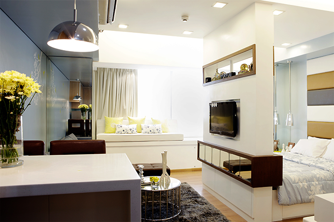 Pastel colors for a 40sqm condo in manila rl Condo kitchen design philippines