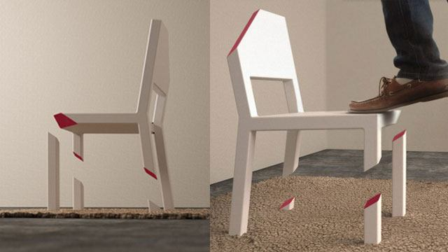Lovely Designed By Peter Bristol, The Cut Chair Only Has One Broken Leg, Creating  An Optical Illusion Of Broken Legs. Hidden Underneath The Rug Is A Metal  Plate ... Amazing Design