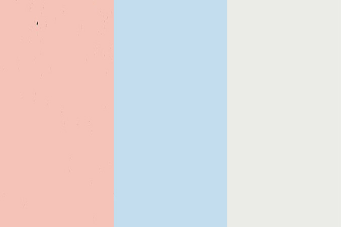 White With Accent Pastel Colors Of Light Pink Or Coral Powder Blue