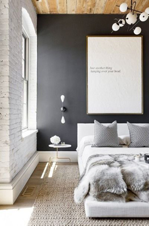 Donu0027t Be Afraid To Make A Statement By Painting The Wall Behind Your Bed  With A Dark Shade Of Gray. It Helps Set The Tone Of The Room And Would Look  ...