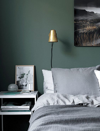 For Those Who Arenu0027t Sure If They Can Work With Gray Walls Can Opt For A  Dark Green Shade To Set The Mood And Give The Room A Soothing Vibe.