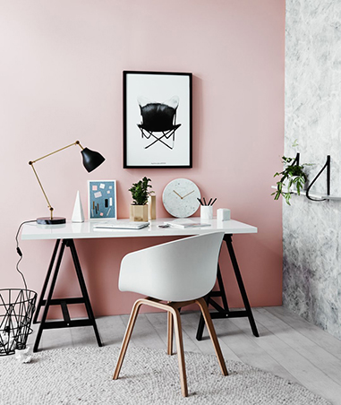 5 must see photos of dainty pink interiors rl create a space where you can focus by pairing light pink walls with a slim working table a comfortable chair and select black decor aloadofball Image collections