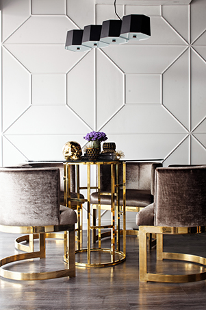Harver hills maiden collection features art deco inspired furniture made with lush fabrics in neutral colors like black white and gray complete with gold
