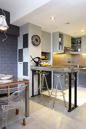 Industrial meets quirky in this out of the box condo unit rl Condo kitchen design philippines