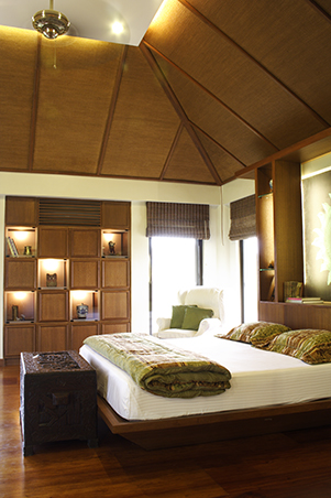 The Master Bedroom Also Has A High Ceiling Lined With Rattan. Architect  Gelo Explains That The High Pitched Roof Makes The Area Look More  Attractive And It ...