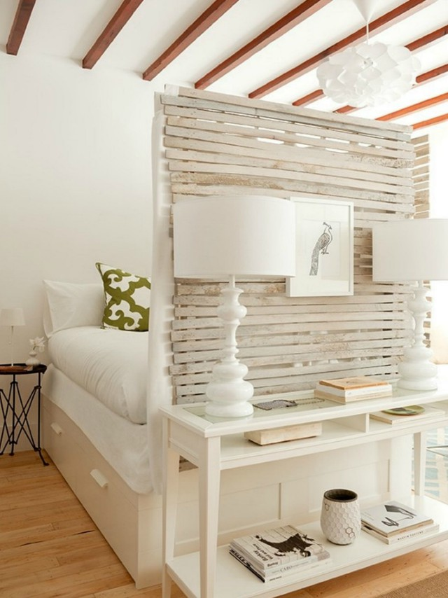 To Make The Sleeping Area Distinct From Entertainment E Consider Concealing Bed With A Wooden Parion Put Together Small Vignette In Front