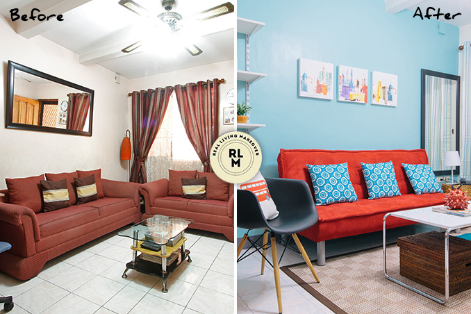 Attractive RL Makeovers: A Colorful Look For A Plain Living Room
