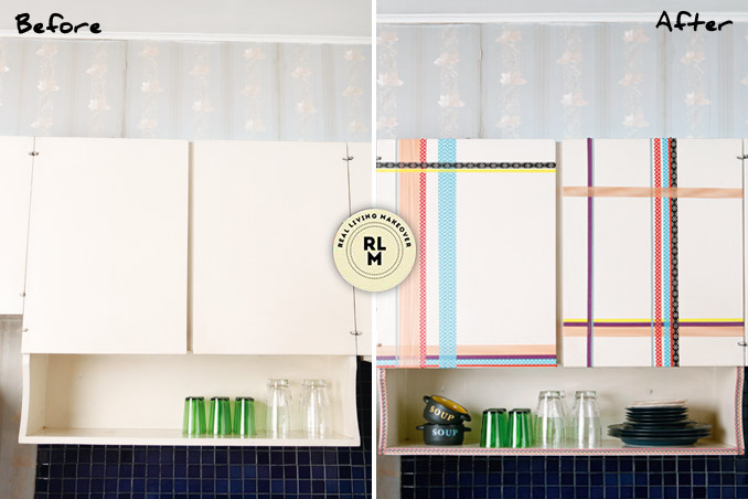 diy: kitchen cabinets with washi tape décor | rl