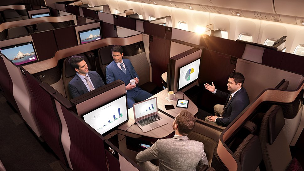 Double Beds and Adjustable Privacy Panels Come with This Business Class Ticket