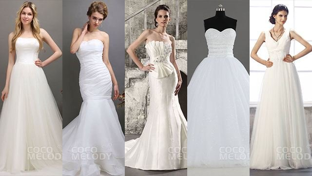 fed38a9c14d2a (L-R) CocoMelody A-Line Tulle Ivory Strapless Wedding Dress with Train  Lace-Up Back Satin Bridal Gowns (P14,500), CocoMelody Romantic Trumpet- Mermaid ...