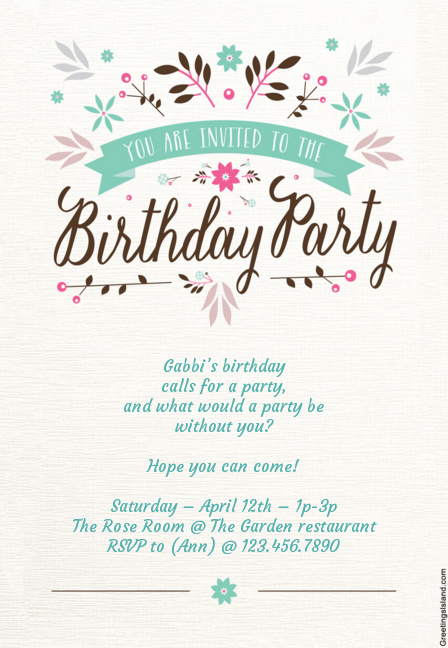 Its Perfect For Garden Pastel Themed Or Rustic Style Birthday Parties This Card Allows You To Customize The Text Before Printing Get It Here