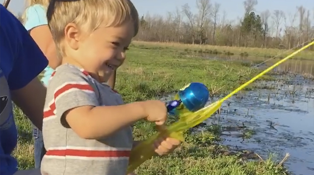 This Made Our Day: Little Boy Catches Fish with His Toy Rod