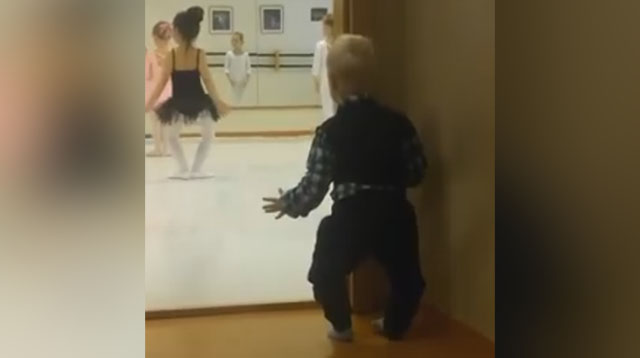 This Made Our Day: Little Boy Caught Copying Dancing Ballerinas