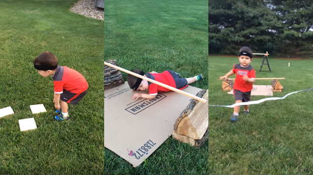 Watch This Adorable Little Boy Conquer An Obstacle Course