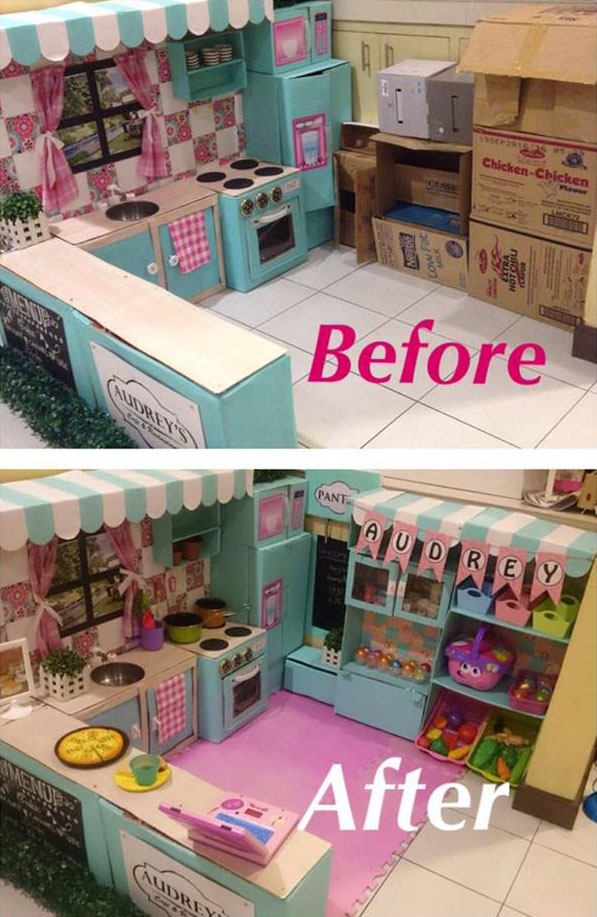 Mom who built incredible diy play kitchen renovates and makes extend her daughters kitchen playset when audrey started to identify fruits and vegetables she thought a pantry would make a great addition where she solutioingenieria Image collections
