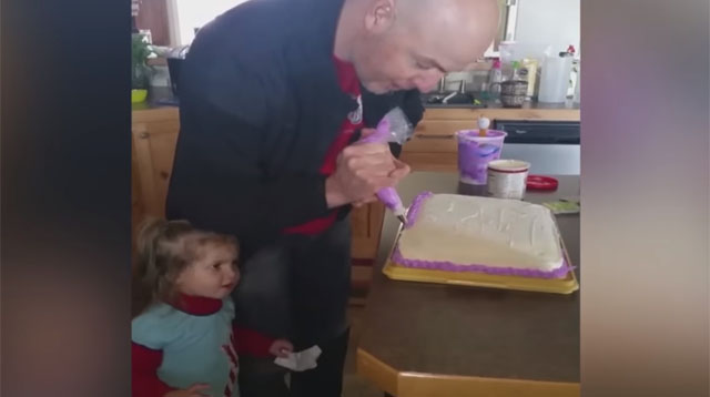 This Dad Frosts a Cake Like a Pro and Wins Most Patient Award