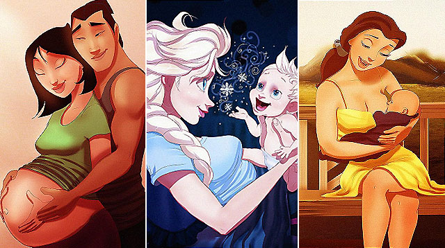 10 Disney Princesses Re-Imagined as Preggos or Moms