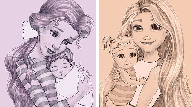 Look! Disney Princesses Get Mommy-fied Again