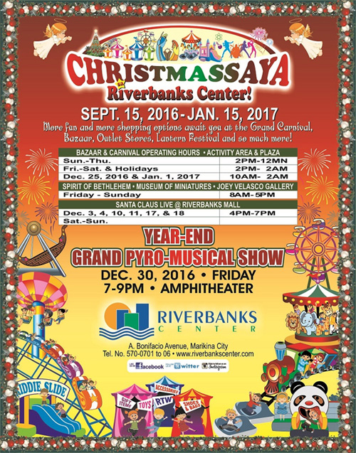 Updated a guide to metro manilas must see holiday attractions 2016 riverbanks center year end grand pyro musical show december 30 2016 7 9pm ampitheater riverbanks center marikina city stopboris Gallery