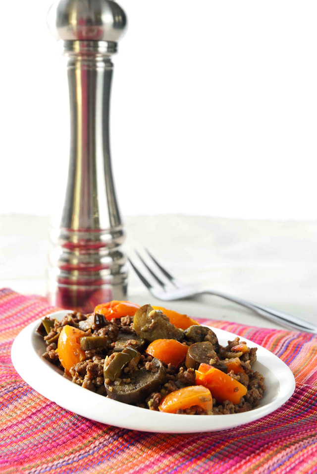 spiced ground beef with eggplant