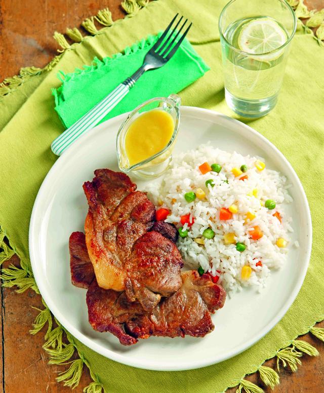 pork steak in asparagus