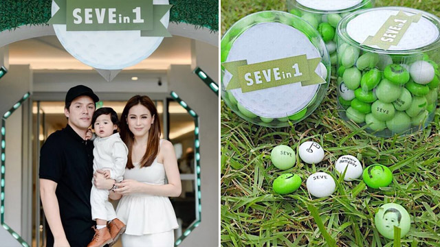 Celeb Parents Like Toni Gonzaga And Paul Soriano Had Little Cutie Seves Face Printed On Green White Candies For His Golf Themed First Birthday Party